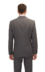 businessman or teacher in suit from back