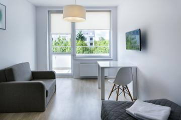 Compact, modern sleeping room