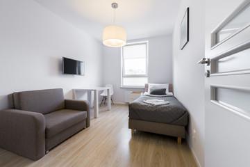 Economic, modern sleeping room interior design