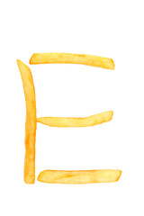 alphabet letter from French fries on the white