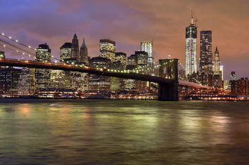 New York City - Brooklyn Bridge, Manhattan skyline at night, USA