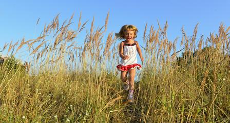 Running Happy little girl