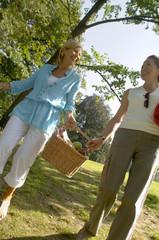 Two women carrying a picnic basket.