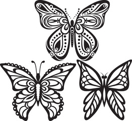Symmetrical silhouettes butterflies with open wings tracery