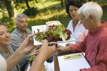 Two mature couples having sandwiches