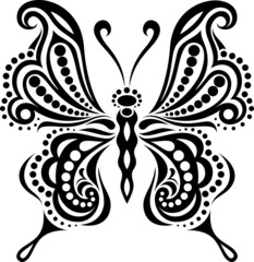 Delicate butterfly silhouette. Drawing of lines and points