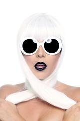 Fashionable Beautiful Woman Wearing a Styled Wig Closeup