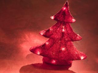 A lighted Christmas tree.