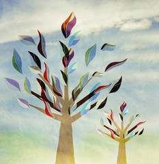 family trees with colorful leaves,, vintage, childhood
