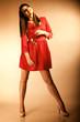 Obrazy na płótnie, fototapety, zdjęcia, fotoobrazy drukowane : Fashion woman teen girl in red gown with dry rose.