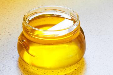 Jar of organic floral honey