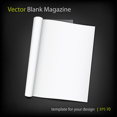 Vector blank page of magazine on black background.