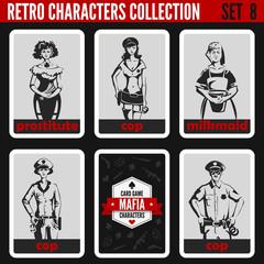 Vintage retro people. Mafia noir style cops prostitute milkmaid.
