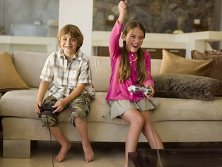 Children playing playstation.