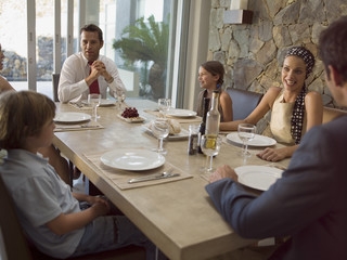 Family at the dining table.