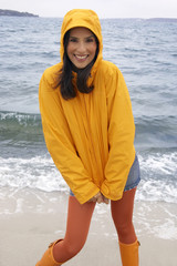 Portrait of a young woman standing on the beach