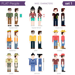 Flat style design people vector set hipster geek cowboy rastaman