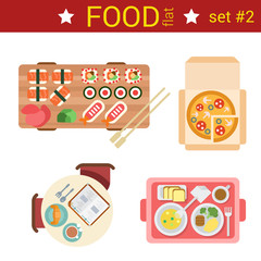 Fast design sushi pizza food dishes vector icons