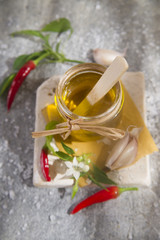Olive oil, garlic and chili