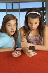 Sisters using their cell phones.