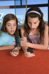 Sisters using their mobile phones