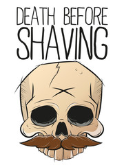 death before shaving totenkopf bart vektor