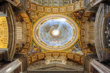 Interior of Saint Peter Cathedral in Vatican