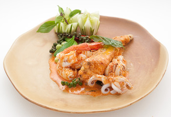 Seafood plate with prawn and octopus
