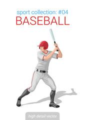 Sportsmen vector collection. Baseball batter bat position. Sport