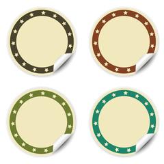 Etiquetas adhesivas redondas con estrellas, beige