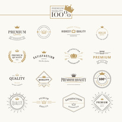 Set of premium quality labels and badges