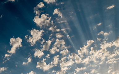 Sky daylight. Natural sky Blue sky clouds and sun rays