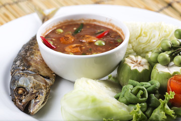 Chili paste with fried mackerel and vegetable