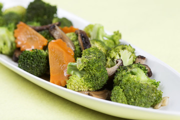 Stir fried Three vegetables (broccoli, mushroom, carrot)