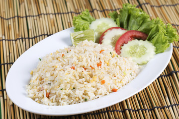 Fried rice with crab on the plate