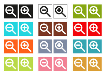 Set of 12 isolated colorful cursors (icons) for zoom in and zoom