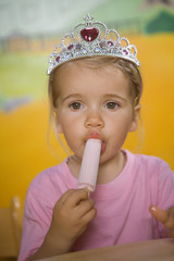 Close-up of a girl eating an ice cream
