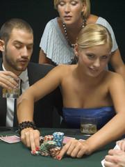 People playing poker game