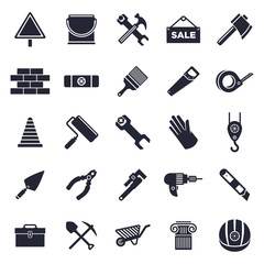 Construction and building theme, black and white icons.
