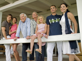 Three generation family on veranda