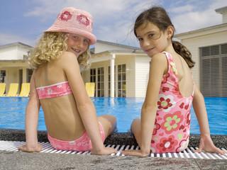 Portrait of girls near pool