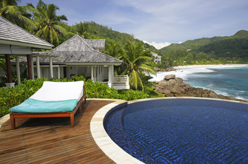 Swimming pool, belonging to a Hotel Room of the Banyan Tree Hotel, Anse Intendance, Mahe', Seychelles