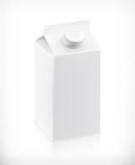 White cardboard milk package, vector illustration