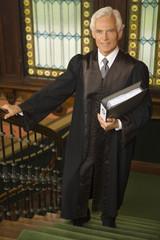 Portrait of a lawyer moving up on a staircase and smiling