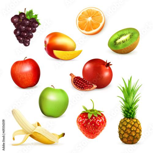 Fruits, set of vector illustrations © Natis