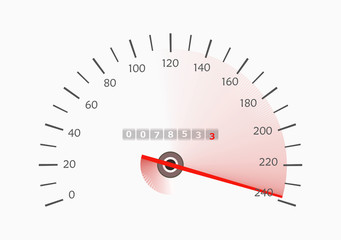 Speedometer with moving arrow.  illustration