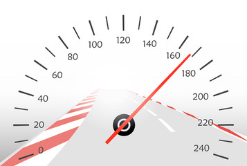 Asphalt track and speedometer
