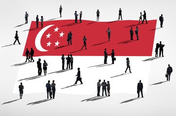 Global Business People with Flag of Singapore