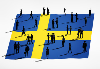 Multiethnic Group of People with Swedish Flag