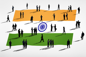 Global Business Concpet with Flag of India